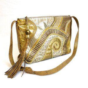 Sharif American Leather Gold Tone Shoulder Bag